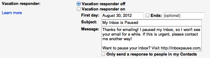 Vacation repsonder setting in Gmail